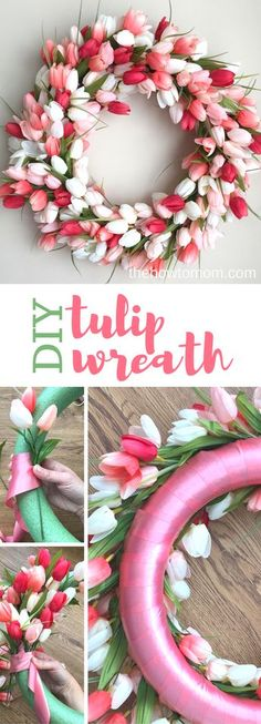 DIY tulip wreath - stunning spring wreath