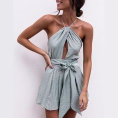 a9e06bda9a Sexy Halter Neck Playsuit Ruffles Short Jumpsuit Women Elegant Backless  Rompers 2018 Boho Beach Playsuit Top Back Cross Jumpsuit