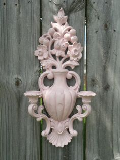 Upcycled Floral Distressed Wall Sconce Candle Holder in by Erindee, $18.00