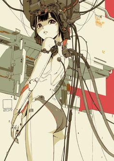 thecollectibles: Cyborg girls by tan di Arte Cyberpunk, What Is Cyberpunk, Cyberpunk Character, Cyberpunk 2077, Character Concept, Character Art, Concept Art, Cyborg Anime, Cyborg Girl