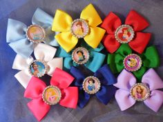 9 Pack of mini Princess Bows by BeautifulBowsbyAlex on Etsy, $20.00