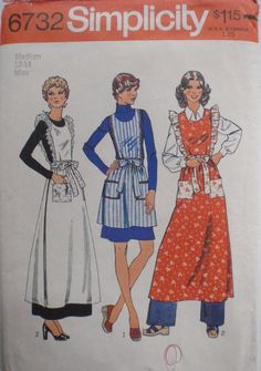 1970's Wrap and Tie Apron Sewing Pattern - Simplicity 6732 - Size Medium (12-14), Bust 34-36 by Shelleyville on Etsy