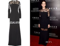 Felicity Jones' Elie Saab Lace-Paneled Stretch-Crepe Gown