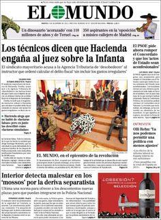 Los Titulares y Portadas de Noticias Destacadas Españolas del 3 de Diciembre de 2013 del Diario El Mundo ¿Que le pareció esta Portada de este Diario Español?