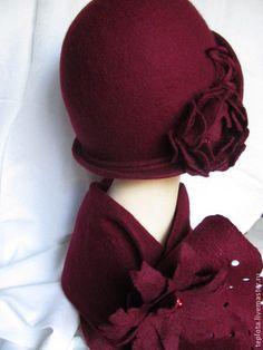 """Купить Шляпка валяная """"Фруктово-ягодный десерт""""+шарф с брошкой - шляпка валяная, валяная шляпка"""