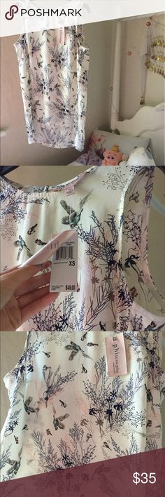 • nwt bird print top • nwt sheer hi low top from philosophy. features a really cute bird print all throughout. drapes beautifully and looks amazing on! button up on the back which allows for a seamless look.   no flaws or defects. can fit xxs-m.   •no trades please •ask questions! •smoke free/cat and dog friendly home •happy to model Philosophy Tops Blouses