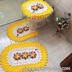 Jogo de Banheiro Oval Amarelo Barroco