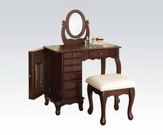 https://www.theclassyhome.comBoise Brown Wood Glass Storage Vanity & Stool