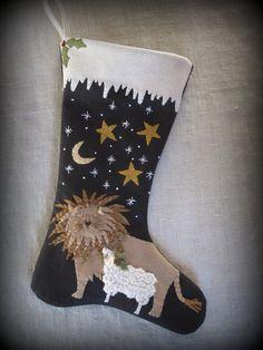 The Peaceable Kingdom Christmas Stocking E-PATTERN by cheswickcompany by cheswickcompany on Etsy https://www.etsy.com/listing/153575225/the-peaceable-kingdom-christmas-stocking