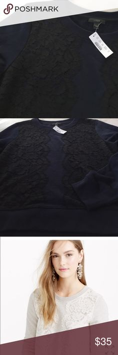 NWT J. Crew Lace Sweatshirt Beautiful lace sweatshirt, brand new from J. Crew. Navy blue with black lace pattern. Difference color shown from J. Crew website to show fit. Great for casual Friday at work. Wear with a sparkly necklace! J. Crew Tops Sweatshirts & Hoodies