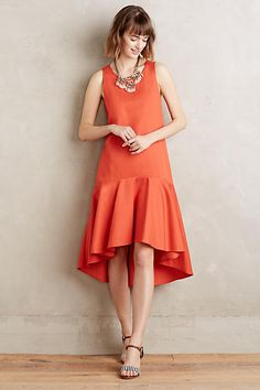 "anthropologie | Camellia Dropwaist Dress |    Lyocell, cotton, linen | Ruffled high-low hem Side pockets | Pullover styling | Machine wash | Style No. 4130348697365  | Regular falls 45"" from shoulder 