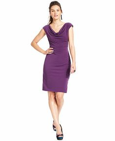 Vince Camuto Cap-Sleeve Cowl-Neck Dress - Dresses - Women - Macy's