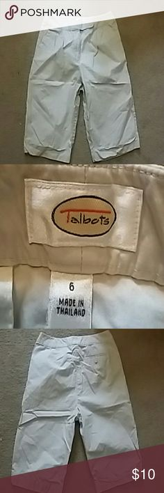 (NOT FOR SALE)  Talbots light tan shorts Light tan 100% cotton shorts. Folds at bottom of shorts. Zip and button close. Color is very close to the pic. Talbots Shorts