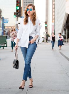 Sydne Style - Los Angeles fashion blogger Sydne Summer styles up a button-down shirt and jeans, and shows how to shop celebrity looks for less.