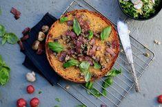 Sötpotatispaj Vegetable Pizza, Bacon, Oven, Chicken, Vegetables, Food, Veggies, Ovens, Vegetable Recipes