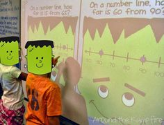 "Halloween math games (and a little FREEBIE)! My class got the biggest kick out of ""FrankenLine""!"