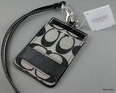 Coach Luggage Tag Lanyard Black & White Signature Twill with Leather Accents