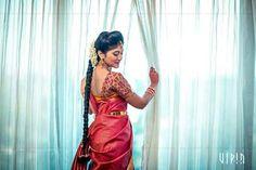 South Indian bride. Temple jewelry. Classic red silk kanchipuram sari. Braid with fresh flowers. Tamil bride. Telugu bride. Kannada bride. Hindu bride. Malayalee bride.