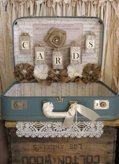 Vintage Suitcase Wedding Card Holder Shabby Chic Wedding Rustic Country Wedding Blue