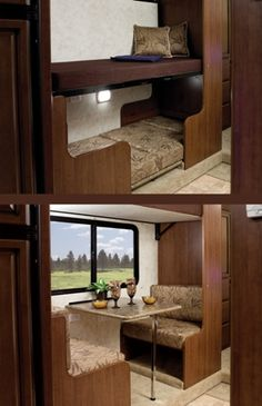"The Storm's 31-foot dual-slide floor plan with standard traditional bunk beds or the optional ""bunk bed-n-beakfast"" space-saving two-person dinette with convertible bunk beds (32BH)."