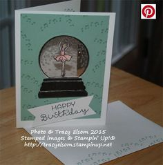 Ballerina snowglobe birthday card