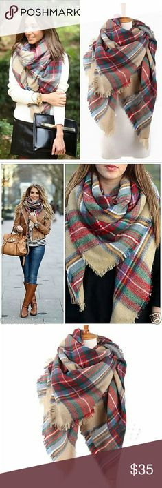 """NWT 5-star rated plaid tartan blanket scarf Gorgeous warm scarf perfect for fall and winter. Measures 55"""" x 55"""". Colors as shown. Ask about bundles! :) have already sold 2 and both were 5-star rated! Boutique  Accessories Scarves & Wraps"""