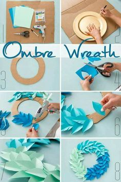 Use colorful cardstock paper, cardboard, and Elmer's new Craft… DIY Ombre Wreath. Use colorful cardstock paper, cardboard, and Elmer's new CraftBond Less Mess Hot Glue Sticks & Hot Glue Gun to make DIY home decor in minutes! Kids Crafts, New Crafts, Diy Home Crafts, Holiday Crafts, Diy Crafts Useful, Kids Diy, Spring Crafts, Easy Crafts, Diy Ombre