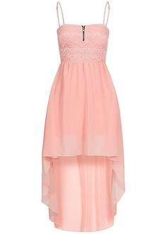 Styleboom Fashion Damen Vokuhila Kleid Zipper vorne Spitze Brustpads rosa Styleboom Fashion Kleider | 77onlineshop im Online Shop preiswert kaufen