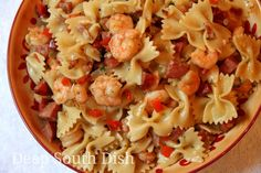 A quick and easy skillet pasta meal, made with medium shrimp, andouille sausage and a simple sauce. May also substitute chicken.