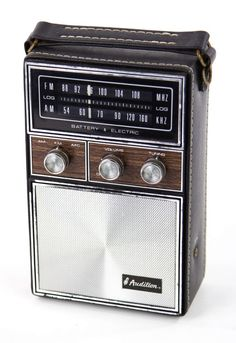 Vintage AUDITION Silver Faux Wood Leather Portable AM FM Radio Hong Kong WORKS #Audition