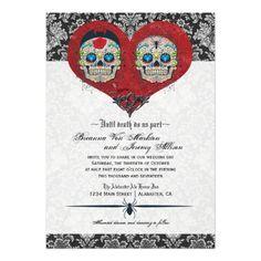 Sugar Skulls Halloween Haunted Wedding Custom Invites