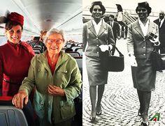 #Bentornata a bordo Mimmina! Assistente di volo #Alitalia nel 1960 (a destra in b/n), nostra ospite oggi. ❤ Welcome back onboard Mimmina: #beautiful #flightattendant in 1960 and very welcome guest today.