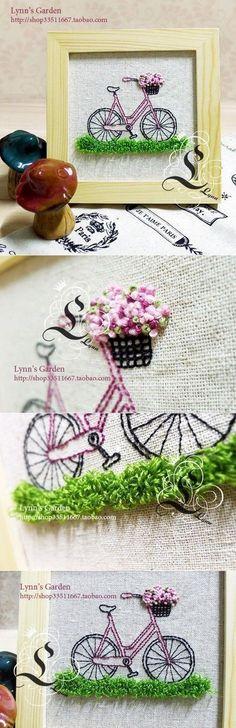 #자전거자수액자만들기 에서 #꽃바구니자수 를 응용할 만것들을 모아봤습니다. #프랑스자수 #바구니자수