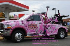 ...cool truck for Breast Cancer Awareness Breast Cancer Walk, Breast Cancer Support, Breast Cancer Awareness, Tow Truck, Cool Trucks, Pretty In Pink, Dodge, Cure, Classic Cars