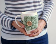 Mint green mug cozy Wooden button by The Cozy Project