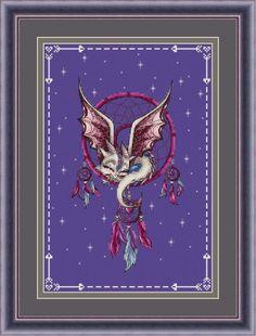 Dragon Cross Stitch Pattern PDF Instant Download Dream Catcher Cross Stitch Fantasy Cross Stitch Cute Cross Stitch Feather Cross Stitch