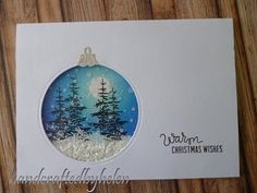 Handcrafted by Helen: Christmas Scene Bauble Card Watercolor Christmas Cards, Diy Christmas Cards, Watercolor Cards, Xmas Cards, Holiday Cards, Christmas Ideas, Swing Card, Winter Karten, Fun Fold Cards