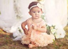 romantic perzik glitter baby jurkje + haarbandje Kirei Sui