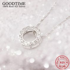2016 New Collares Wholesale Genuine sterling silver jewelry 925 Sterling Silver Necklaces for Women Christmas Gift Jewelry Christmas Gifts For Women, Silver Rounds, Jewelry Branding, Sterling Silver Necklaces, Pendant Necklace, Necklace Chain, Diamond, Pendant, Money