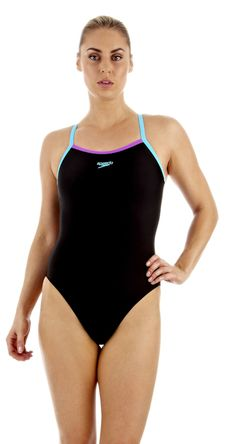 ec8c68b2c71 Powerflash Thin Strap Muscleback - black turquoise purple - 05 403 8626  (28) - Medium Leg - Speedo Endurance 10 Swimsuits
