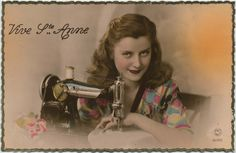 Vintage sewing postcard - lovely lady posing with sewing machine. My Sewing Room, Sewing Art, Love Sewing, Sewing Crafts, Sewing Projects, Sewing Rooms, Vintage Prints, Retro Vintage, Vintage Buttons