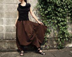 NO.26 Greenish Brown Cotton Asymmetric Harem Pants by JoozieCotton