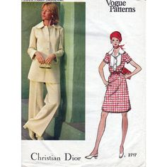 70s Vogue Paris Original pattern designed by Christian Dior 2717, Bust 36 inches, Sewing pattern for dress tunic and pants, factory folded