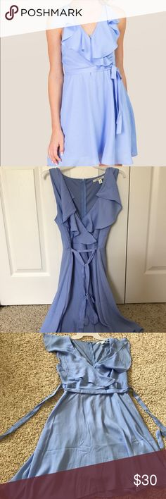 Francesca's Boutique Blue Ruffle Dress Only worn once. Purchased just two weeks ago! I bought it for my senior pictures. I don't think I'll ever wear this again. It's a beautiful color! Francesca's Collections Dresses Mini