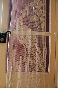 Reserved for Sharon - Magnificent Beige Ecru Vintage Filet Crochet Peacock Curtain or Table runner