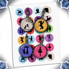 Silhouettes Children Circles 12mm 14mm 16mm 0.5 by MobyCatGraphics, $3.95