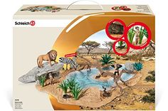 Schleich Watering Hole Set with Animals and Vegitation. Hand Painted. Highly Detailed. toys4mykids.com