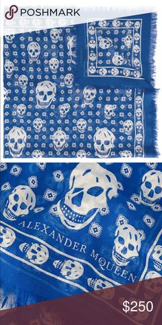 Alexander McQueen Skull Scarf Incorporate Alexander McQueen's signature skull motif into every day looks with this iconic blue silk blend scarf. Featuring frayed edges and a logo print, this coveted skull stamped piece exudes edge and sophistication; trademarks of the Alexander McQueen brand. Alexander McQueen Accessories Scarves