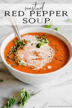 This bold and flavorful soup is made from roasted red peppers. My kids say it tastes like pizza! The perfect warm and comforting dish! Roasted Red Pepper Soup, Roasted Red Peppers, Red Pepper Sauce, Pepper Jelly, Stuffed Pepper Soup, Stuffed Peppers, Red Pepper Recipes, Cooking Recipes, Healthy Recipes