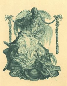 """""""Un Peut Fort Bien Les chord."""" Bookplate (circa 1910).Franz von Bayros (Austrian, 1866–1924). Ex Libris design with the Balzac's bust before swan wings, including a pair reading hisLa Comédie humaine. La Comédie humaine (The Human Comedy) is the title of Honoré de Balzac's (1799–1850) multi-volume collection of interlinked novels and stories depicting French society in the period of the Restoration and the July Monarchy (1815–1848)."""